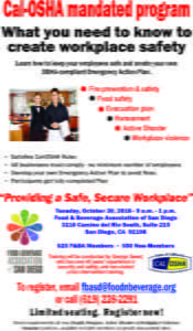 Workplace Safety Training Flyer Oct. 30, 2018